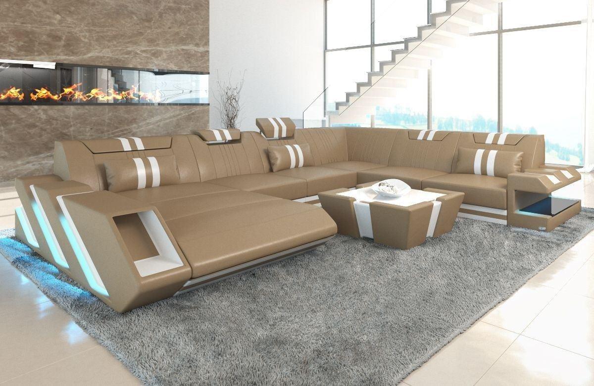 Luxus Sofa Apollonia XXL mit Recamiere in sandbeige - weiss