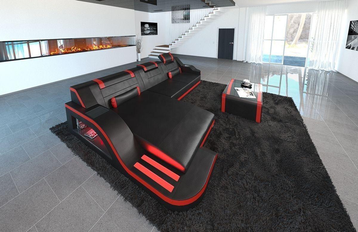 Sofa Palermo Leder L Form schwarz-rot