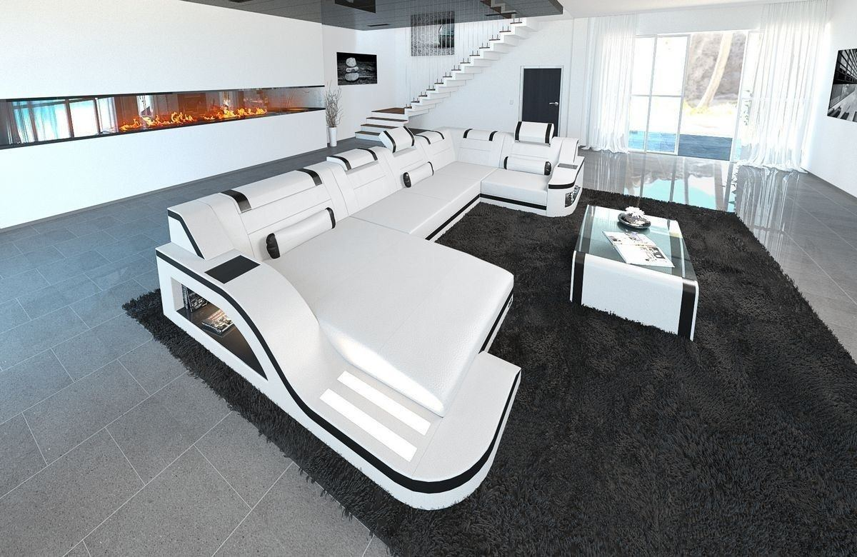 sofa wohnlandschaft palermo in leder als u form weiss schwarz. Black Bedroom Furniture Sets. Home Design Ideas