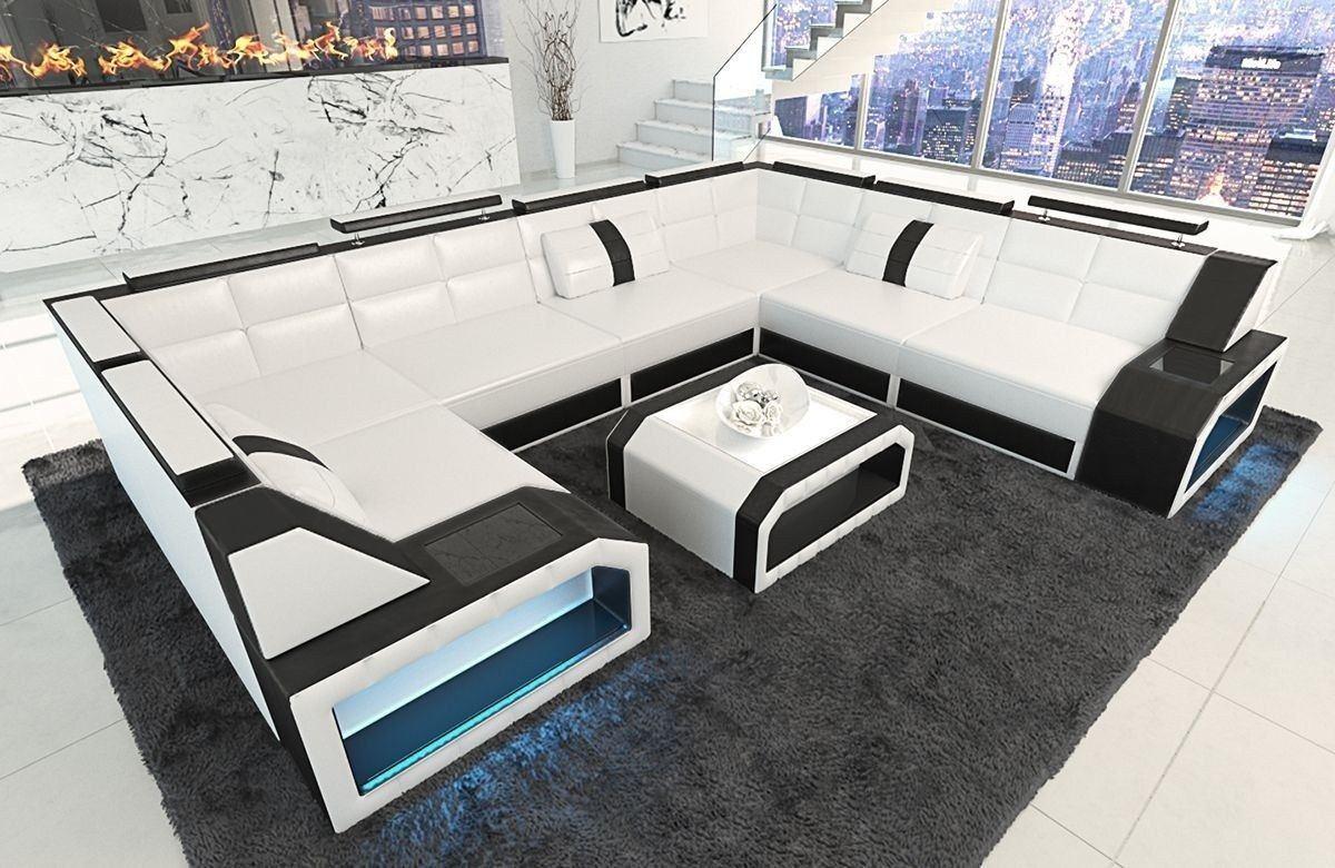Sofa Wohnlandschaft Leder Pesaro U Form weiss-schwarz