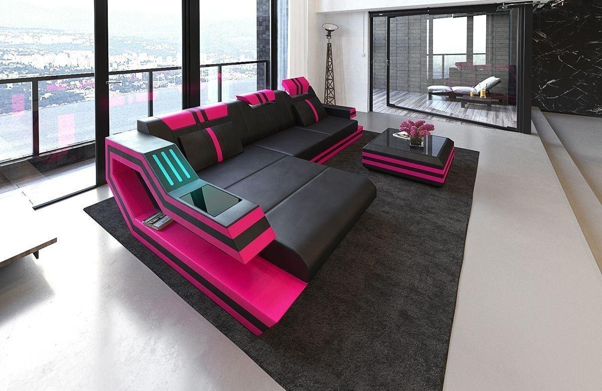 Sofa Ravenna Leder L Form schwarz-pink