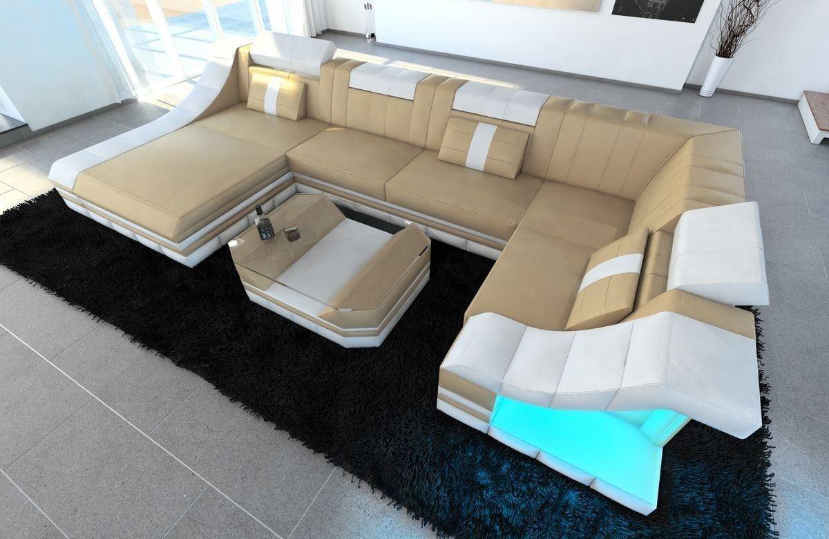 Sofa Wohnlandschaft Leder Turino U Form sandbeige-weiss