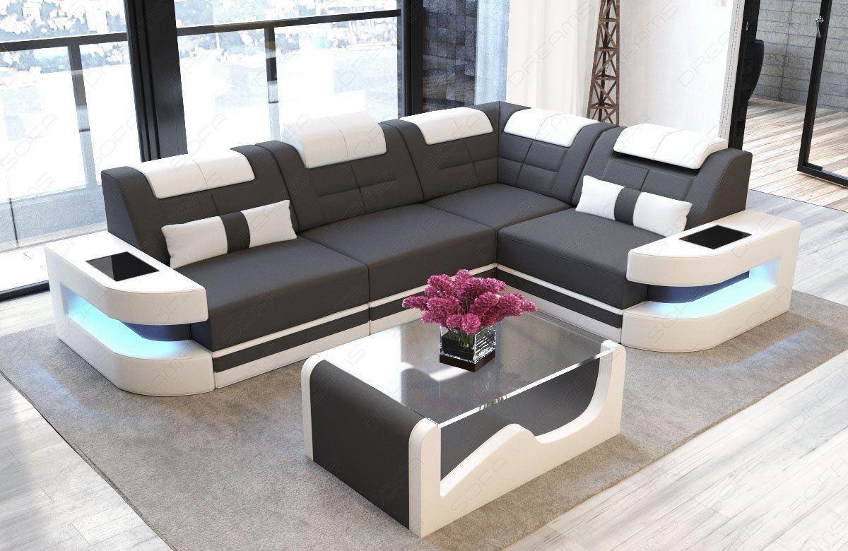 Designersofa Stoff COMO U LED Beleuchtung - grau Mineva 8