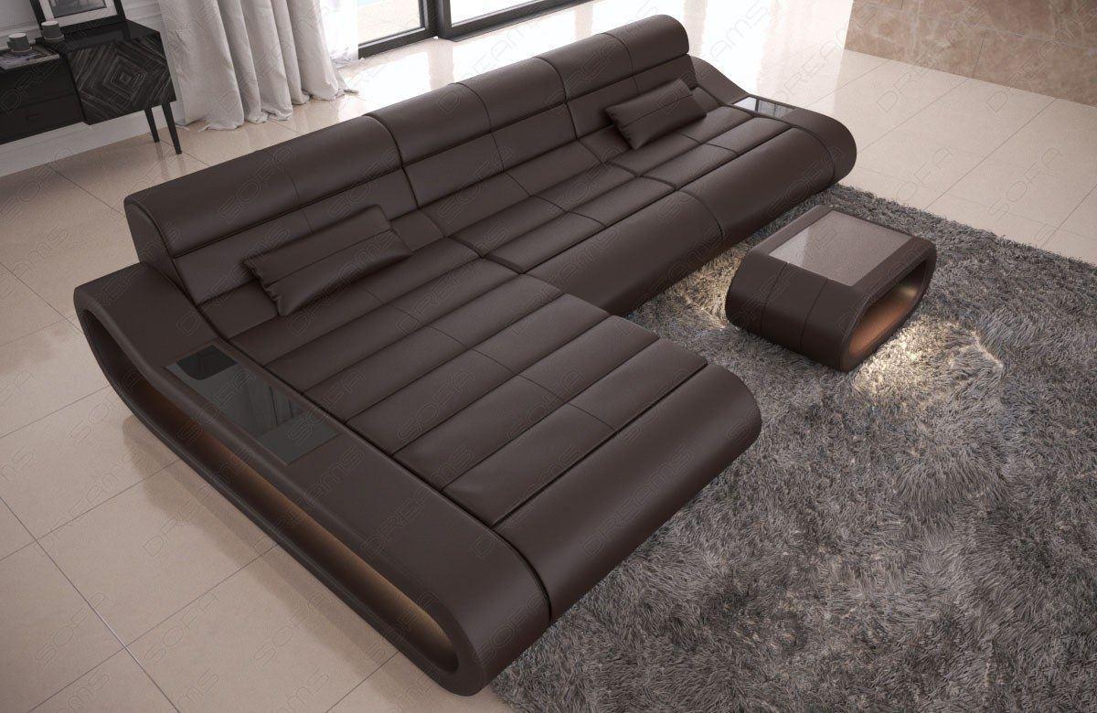 Couch Leder mit Ottomane CONCEPT L Form lang - dunkelbraun
