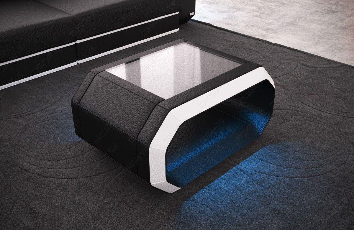 Wohnzimmertisch Leder Roma LED Beleuchtung - schwarz-weiss