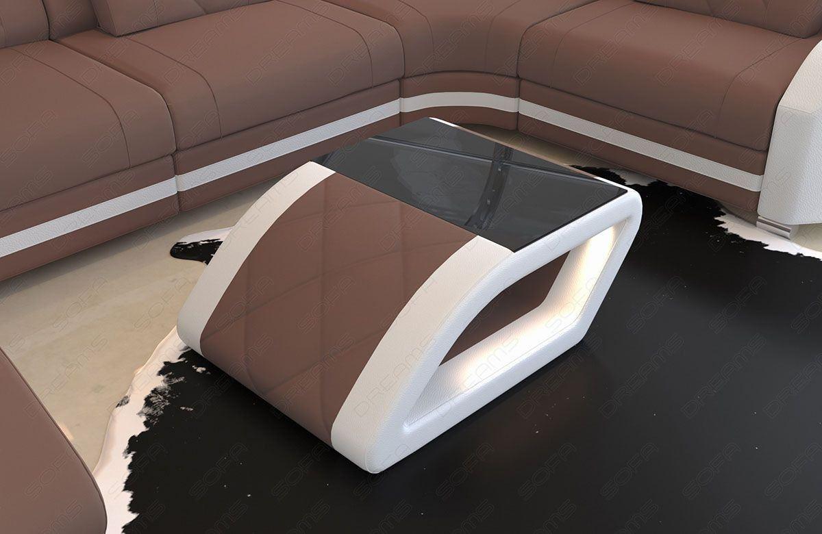 Stoff Wohnzimmertisch Swing mit Schwarzglas Tischplatte in Mineva 5 - hellgrau