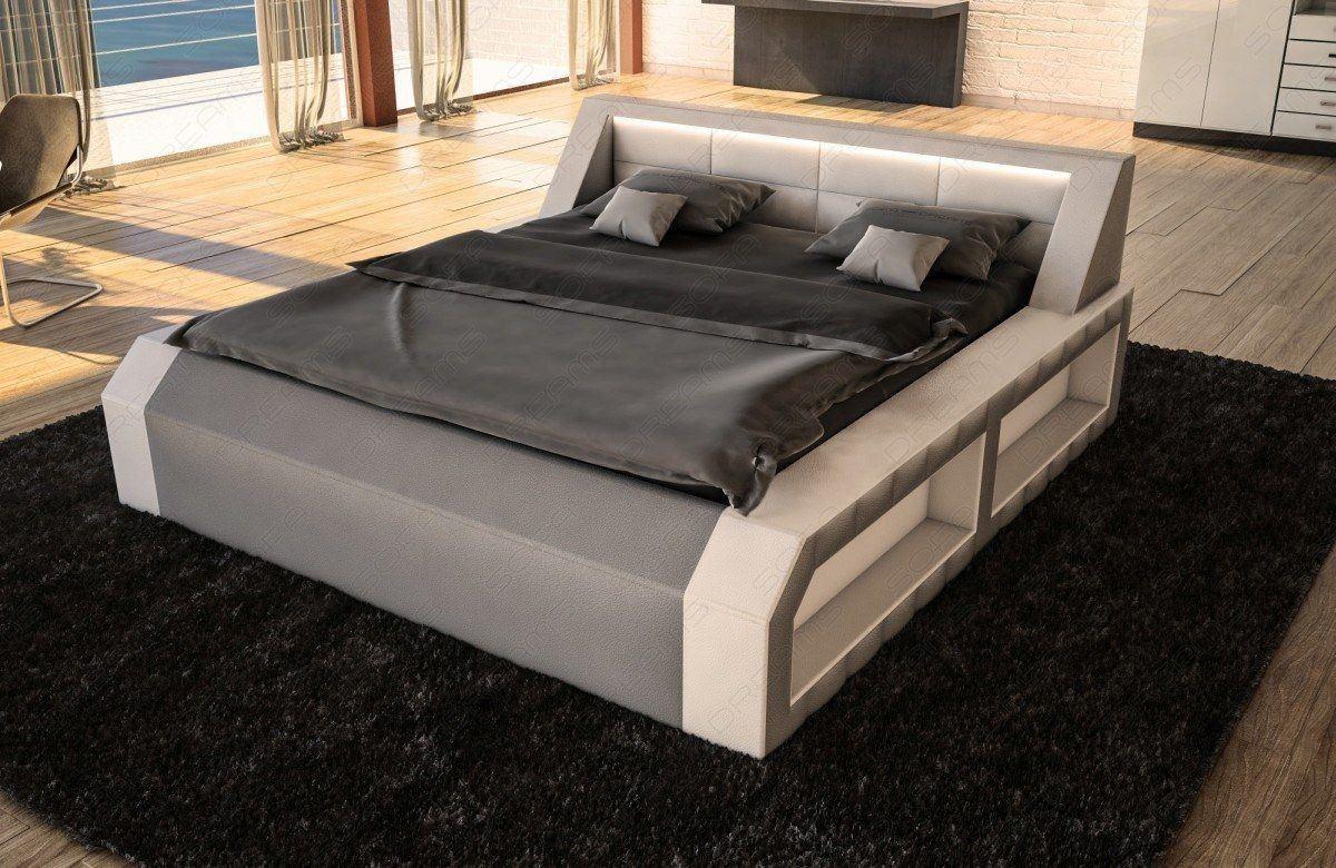 Design Bett Matera weiss-grau