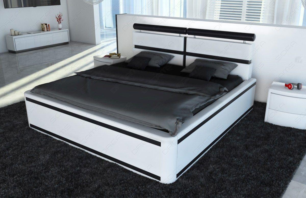 boxspring bett venedig in weiss schwarz und einer led beleuchtung. Black Bedroom Furniture Sets. Home Design Ideas