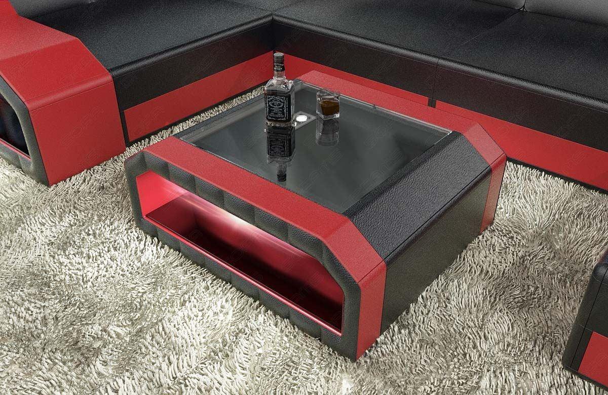Leder Wohnzimmertisch Matera mit LED in schwarz-rot