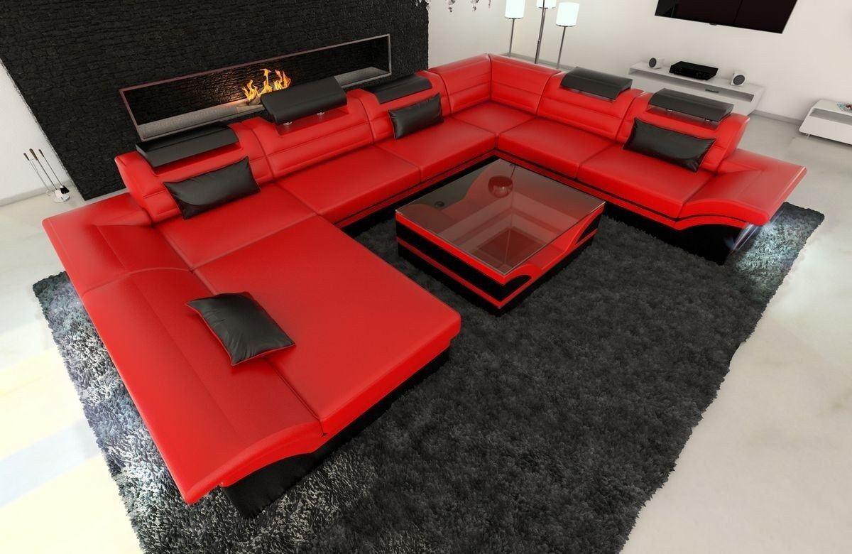 XXL Wohnlandschaft Enzo rot-schwarz