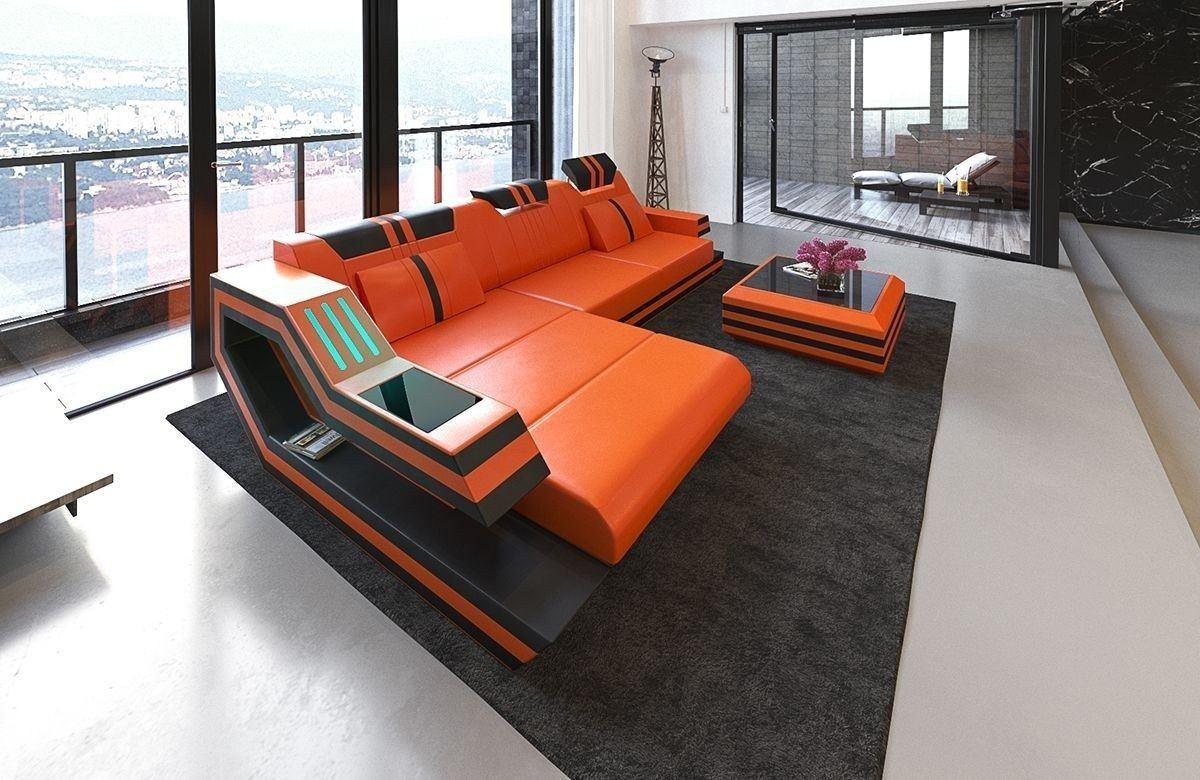 Ledersofa Ravenna L Form orange-schwarz