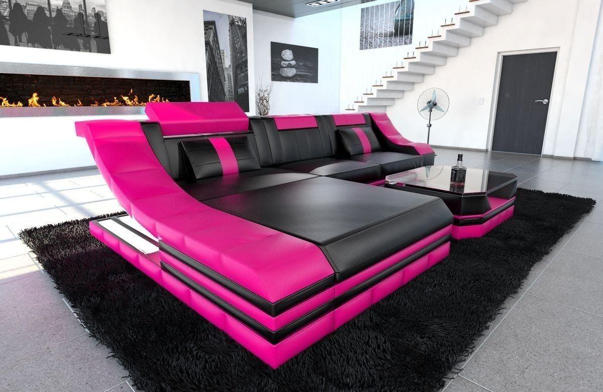 Couch Turino Leder L Form schwarz-pink