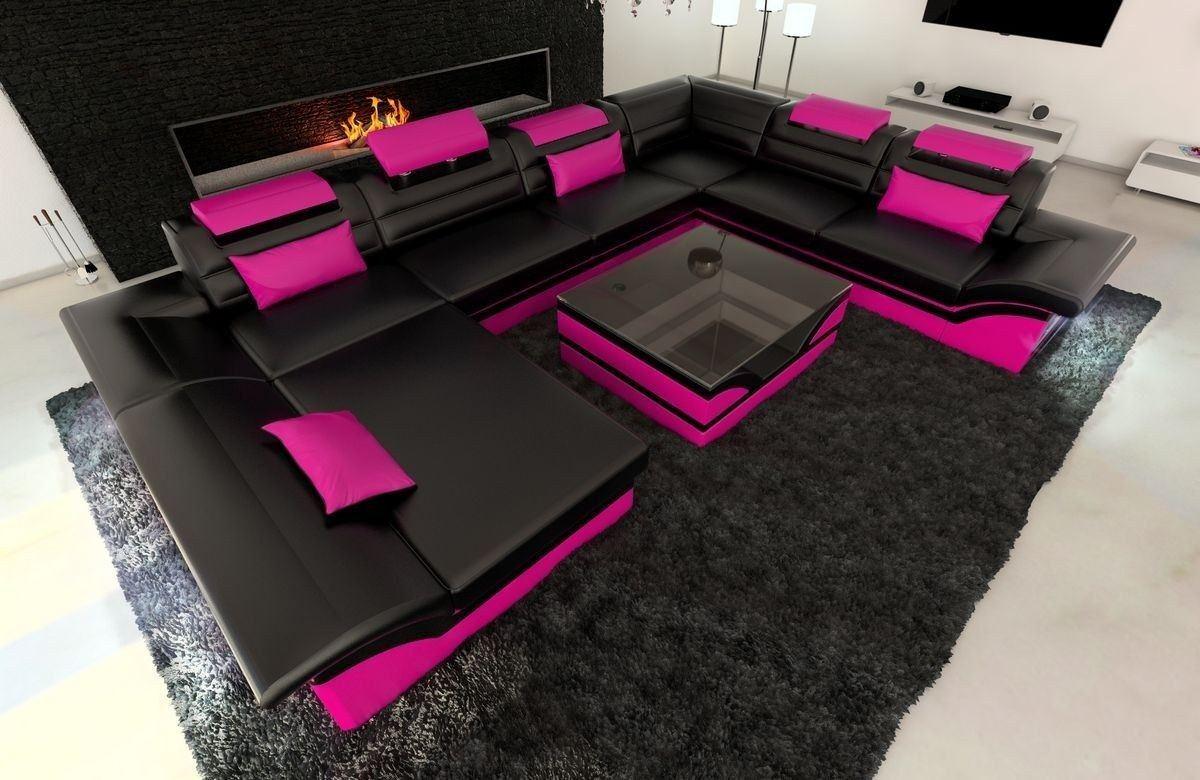 XXL Wohnlandschaft Enzo schwarz-pink