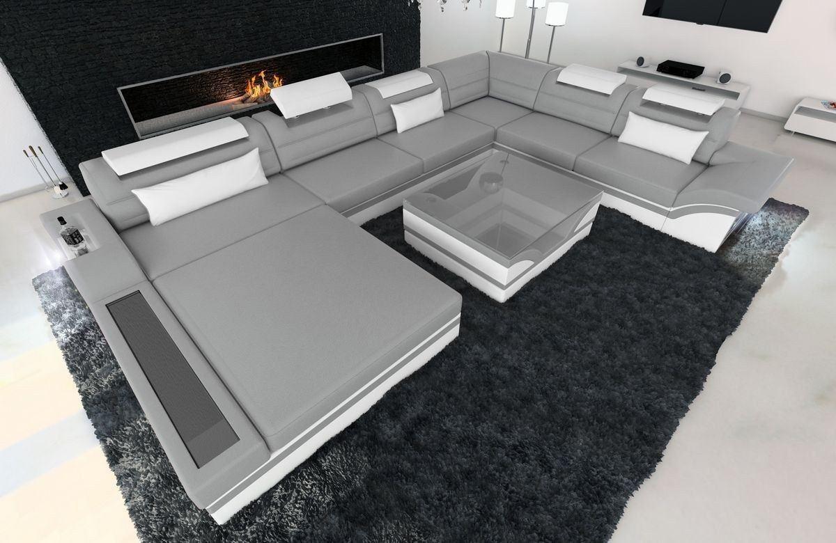XXL Wohnlandschaft Mezzo Grau-Weiß