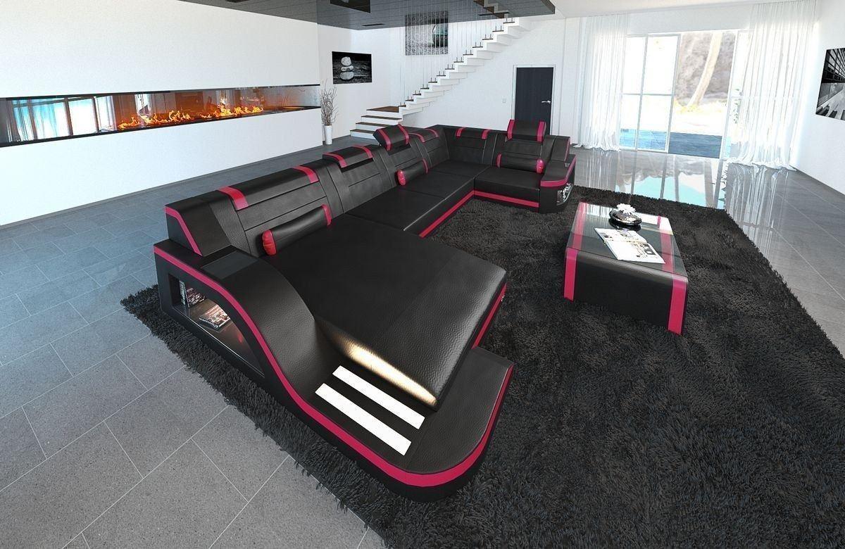 Sofa Wohnlandschaft Leder Palermo U Form schwarz-pink