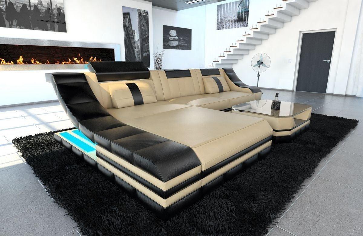 Couch Turino Leder L Form sandbeige-schwarz