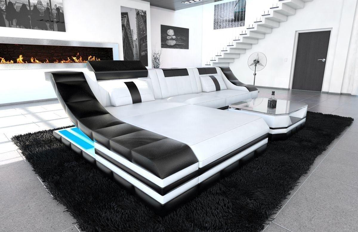 Couch Turino Leder L Form weiss-schwarz