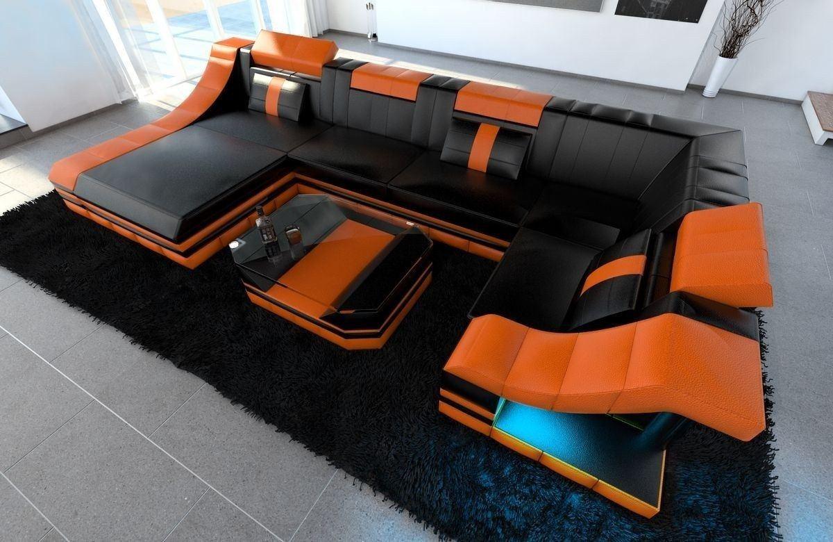 Sofa Wohnlandschaft Leder Turino U Form schwarz-orange