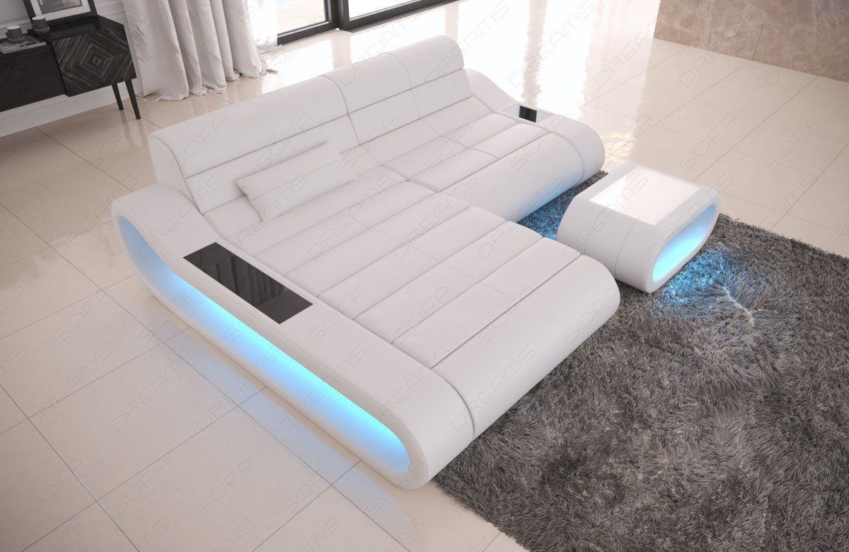 Couch Concept Leder L Form klein weiss