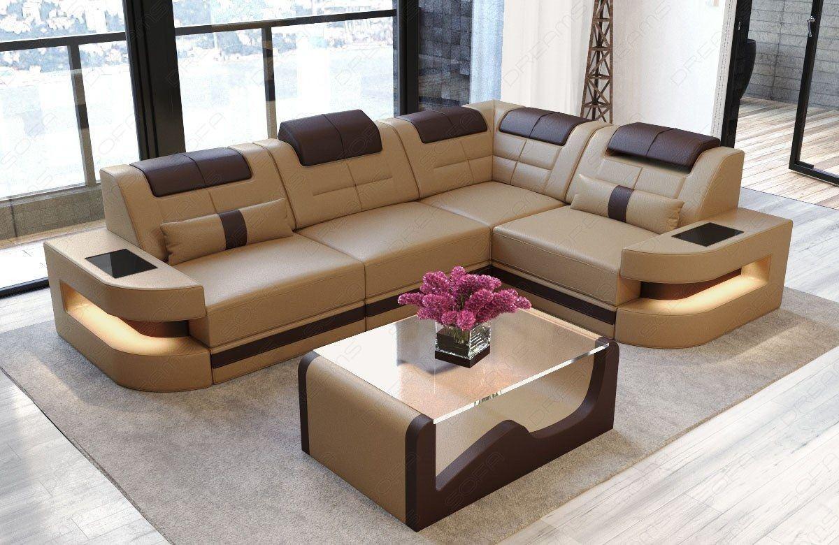 ledersofa como in der l form als ecksofa in sandbeige. Black Bedroom Furniture Sets. Home Design Ideas
