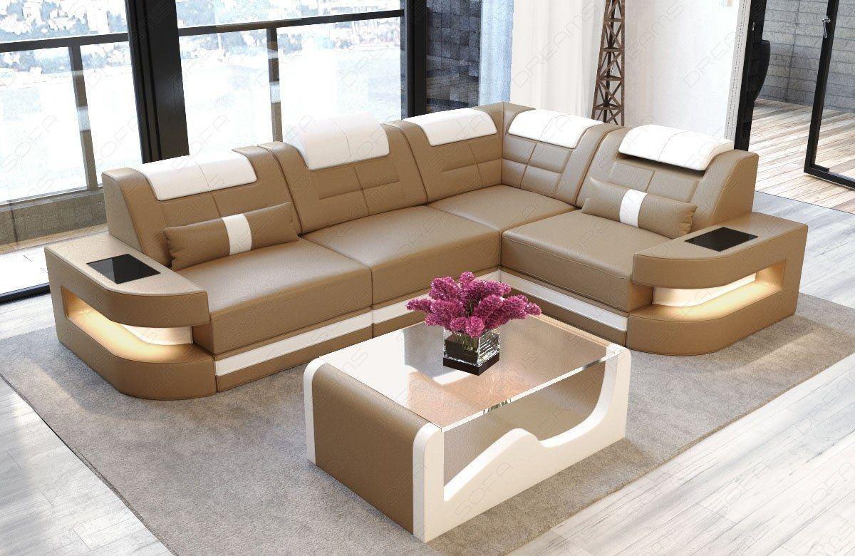 ledersofa como in der l form als ecksofa in sandbeige und. Black Bedroom Furniture Sets. Home Design Ideas