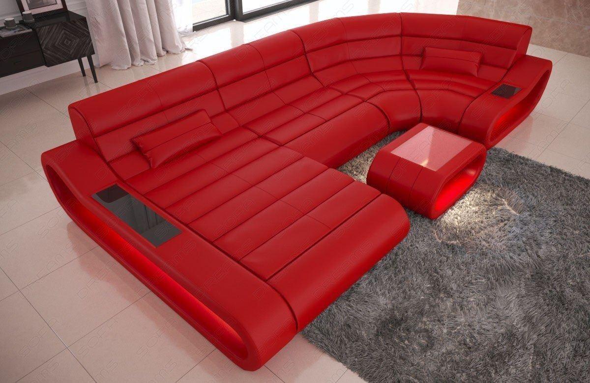 Wohnlandschaft Concept Leder U Form rot