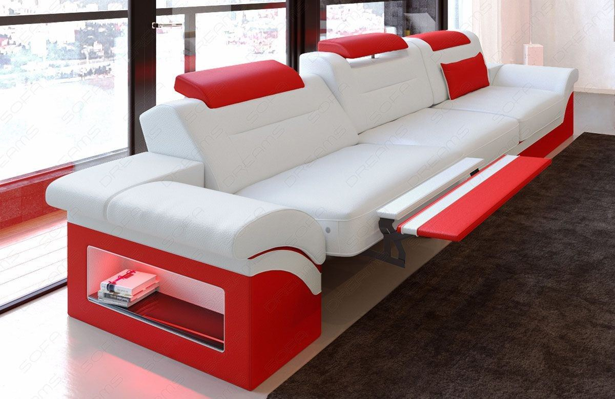 3 Sitzer Couch Monza LED in weiss-rot