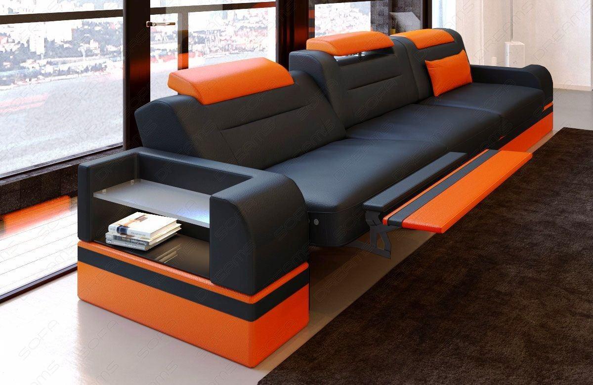 3 Sitzer Sofa modern Parma mit LED Beleuchtung - schwarz-orange