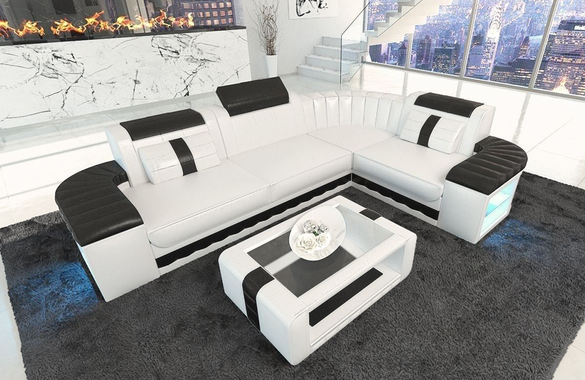 ledersofa bergamo als l form ecksofa in den farben weiss schwarz. Black Bedroom Furniture Sets. Home Design Ideas