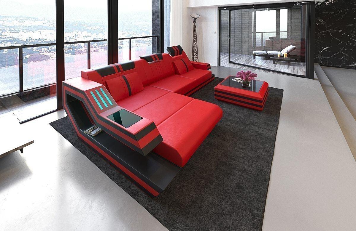 Sofa Ravenna Leder L Form rot-schwarz