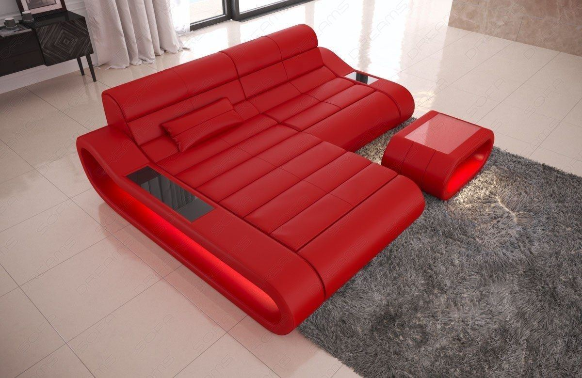 Couch Concept Leder L Form klein rot