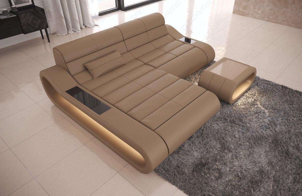 Couch Concept Leder L Form klein sandbeige