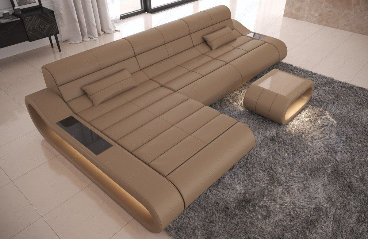 Couch Concept Leder L Form lang sandbeige