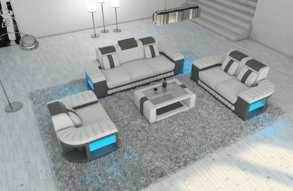 Sofa Garnitur 321 Bellagio Leder weiss-grau