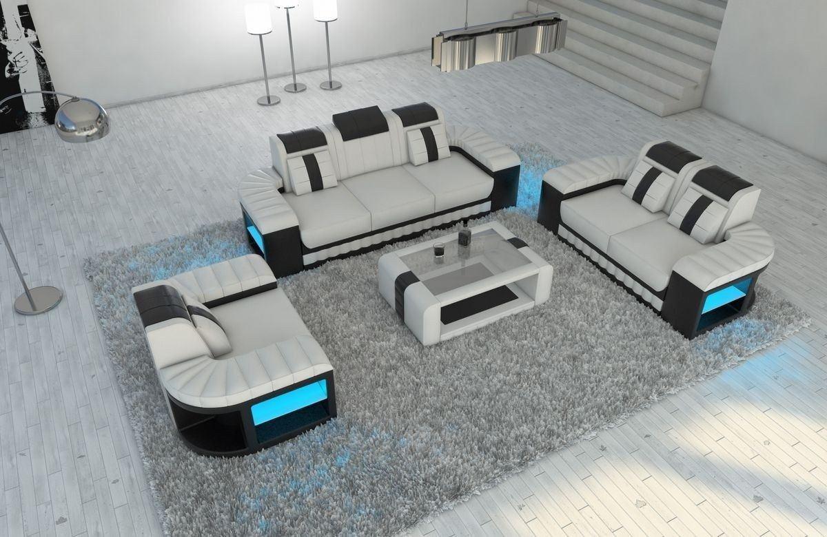 Sofa Garnitur 321 Bellagio Leder weiss-schwarz