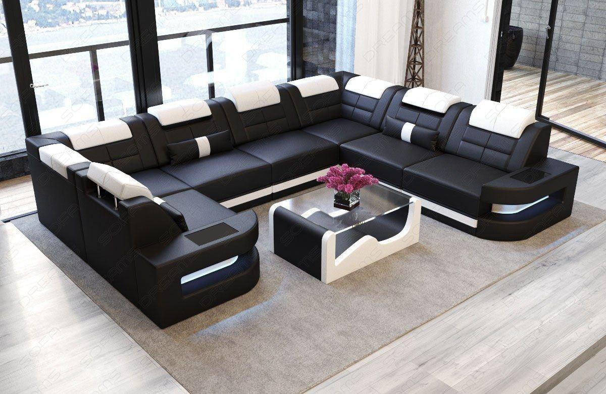 Sofa Wohnlandschaft Como Leder U Form schwarz-weiss