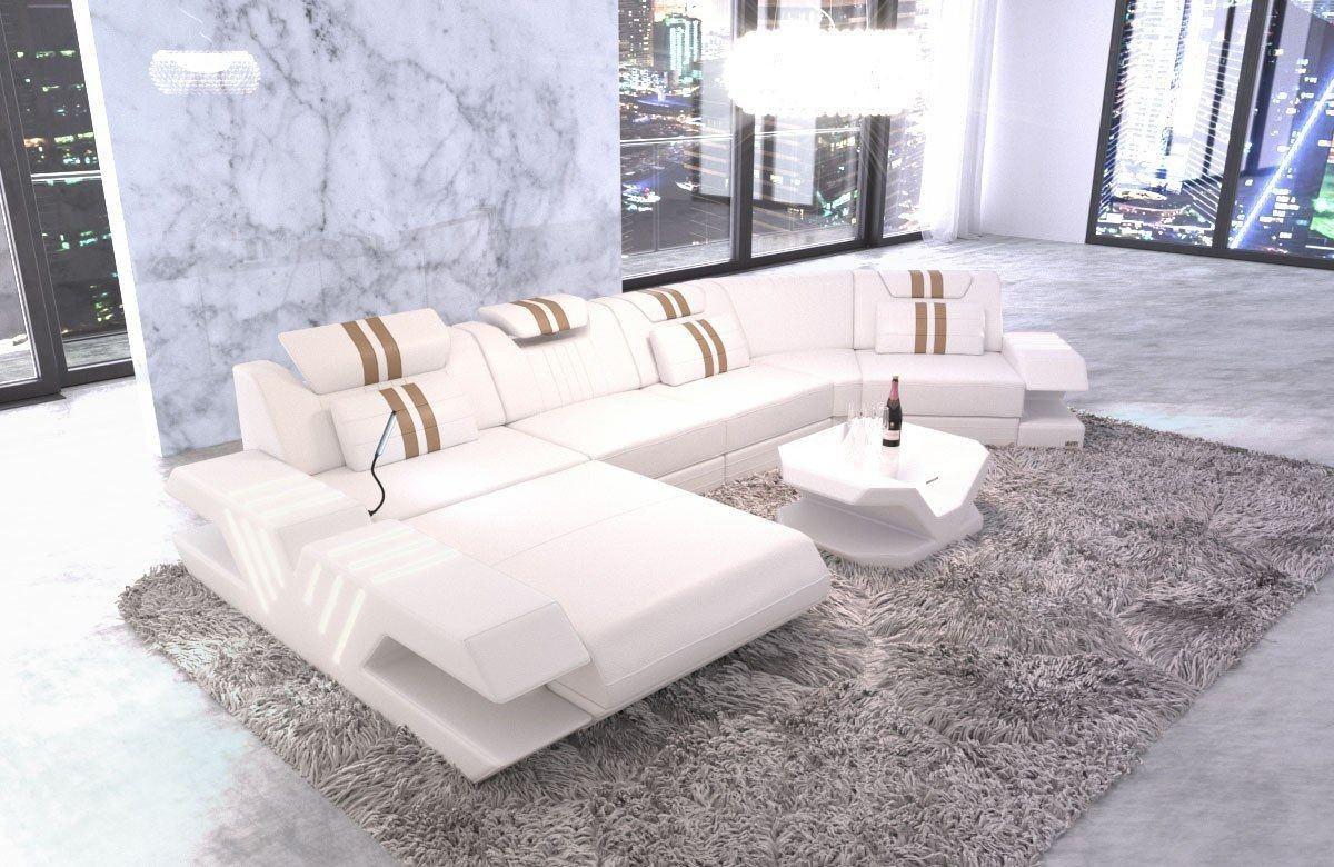 Ledercouch Couch Venedig C Form mit Ottomane und LED Beleuchtung - weiss-sandbeige