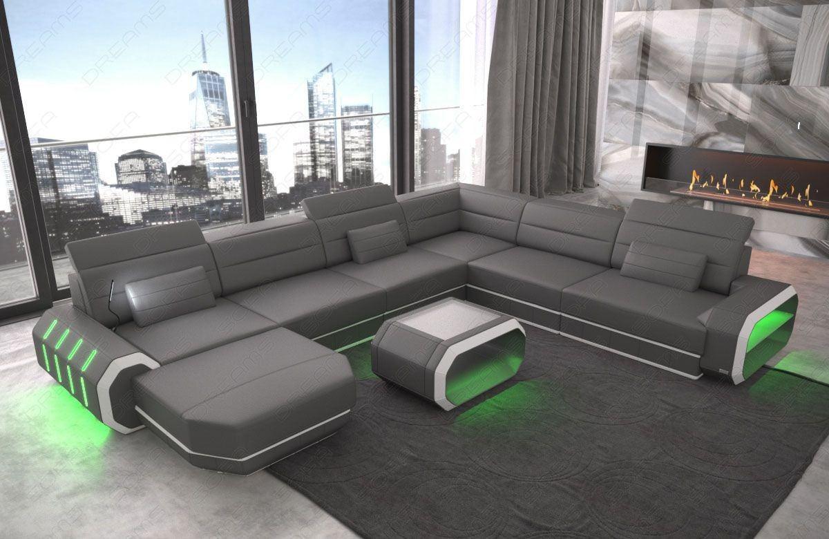 wohnlandschaft roma xxl in grau weiss mit led beleuchtung. Black Bedroom Furniture Sets. Home Design Ideas