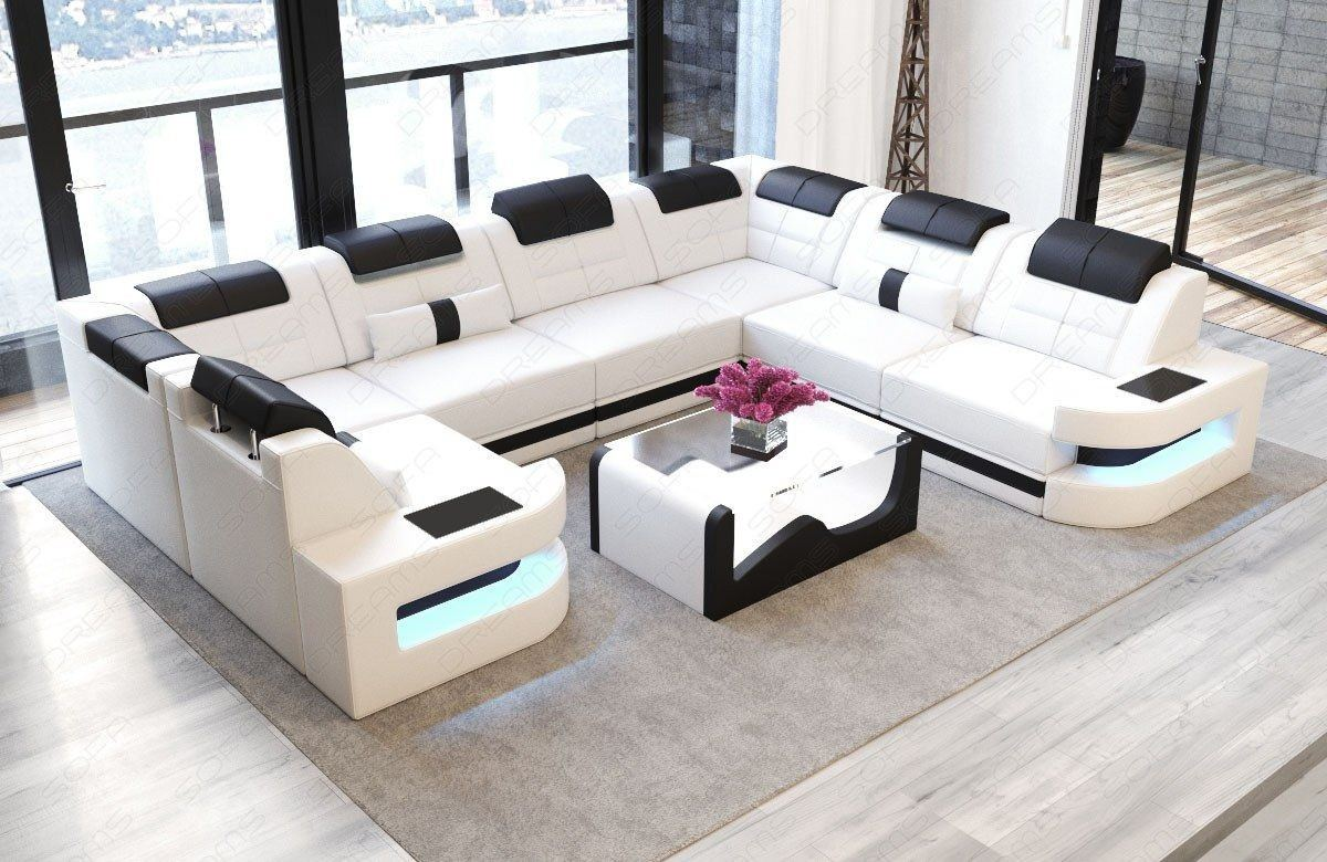 sofa wohnlandschaft como u form in leder weiss und schwarz. Black Bedroom Furniture Sets. Home Design Ideas