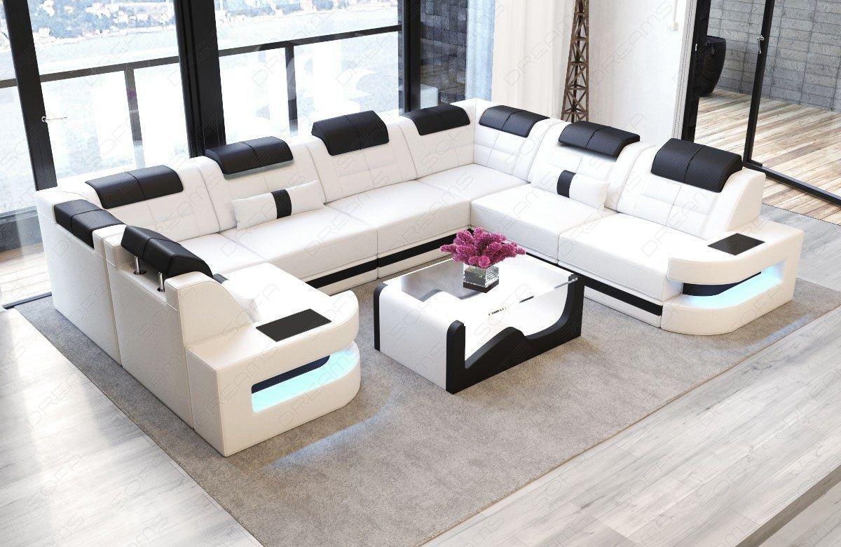 sofa wohnlandschaft como u form in leder weiss und schwarz