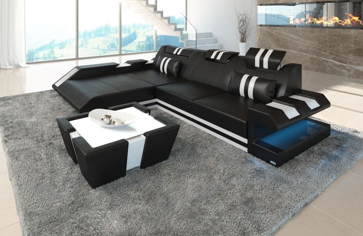 Designsofa Ledercouch Apollonia L Form mit LED Beleuchtun schwarz-weiss