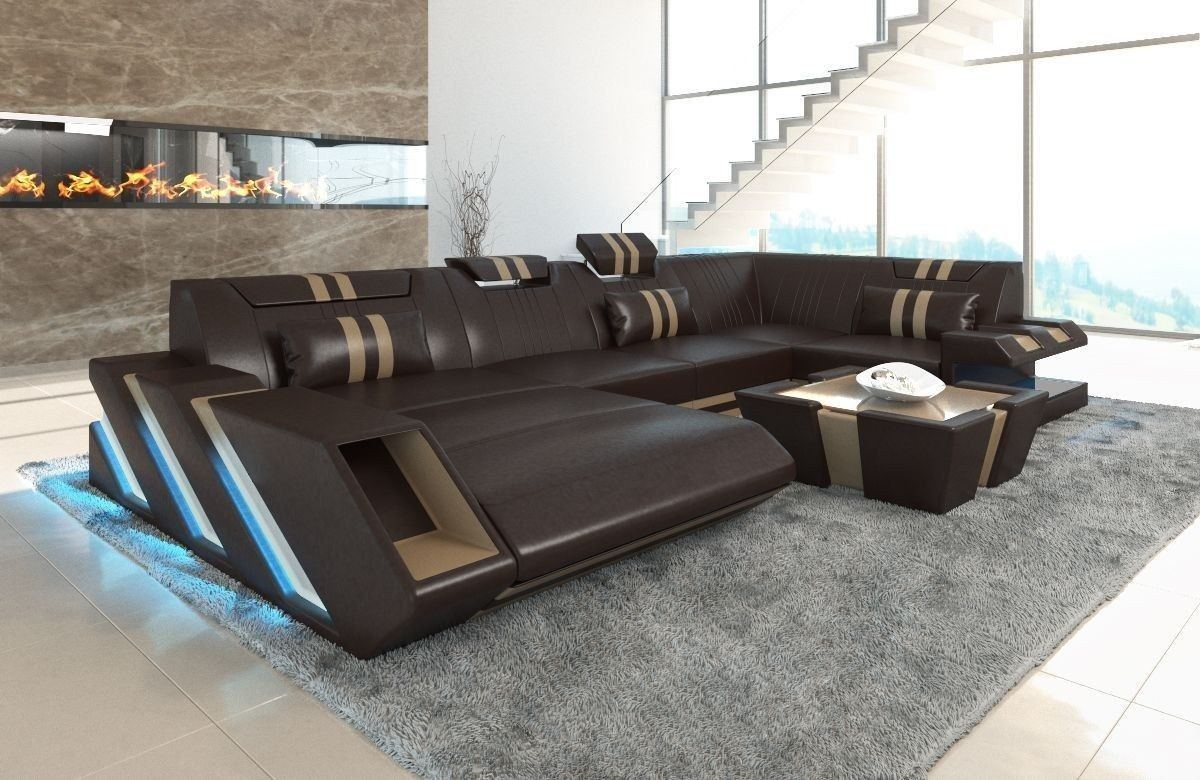 Sofa Wohnlandschaft Apollonia U Form dunkelbraun-sandbeige