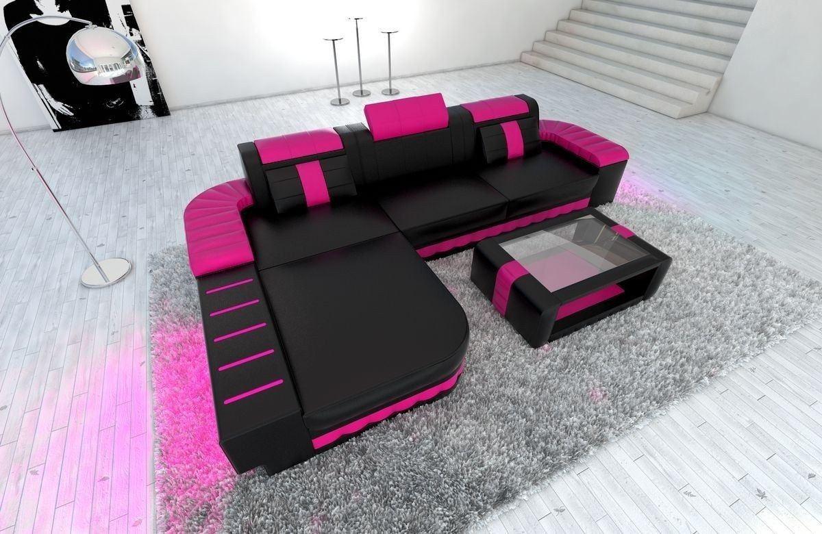 Ledersofa Bellagio L Form schwarz-pink