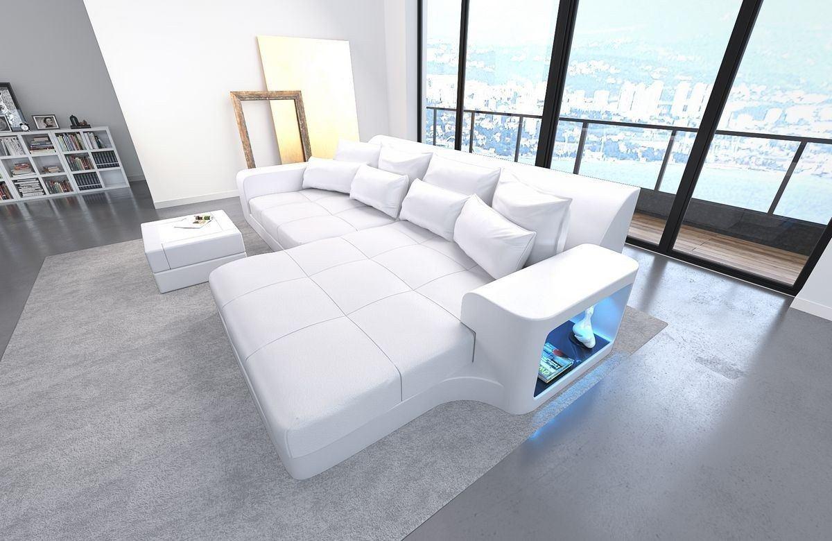 Leder Bigsofa Milano Weiß