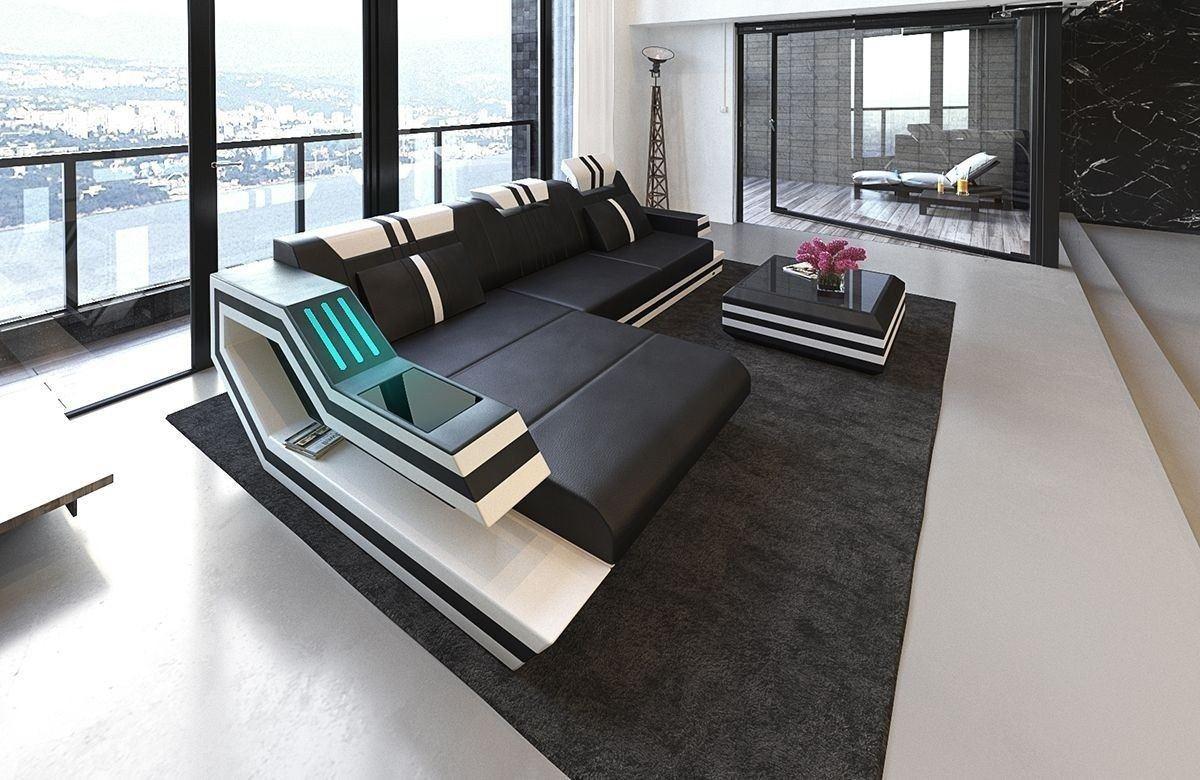 Sofa Ravenna Leder L Form schwarz-weiss