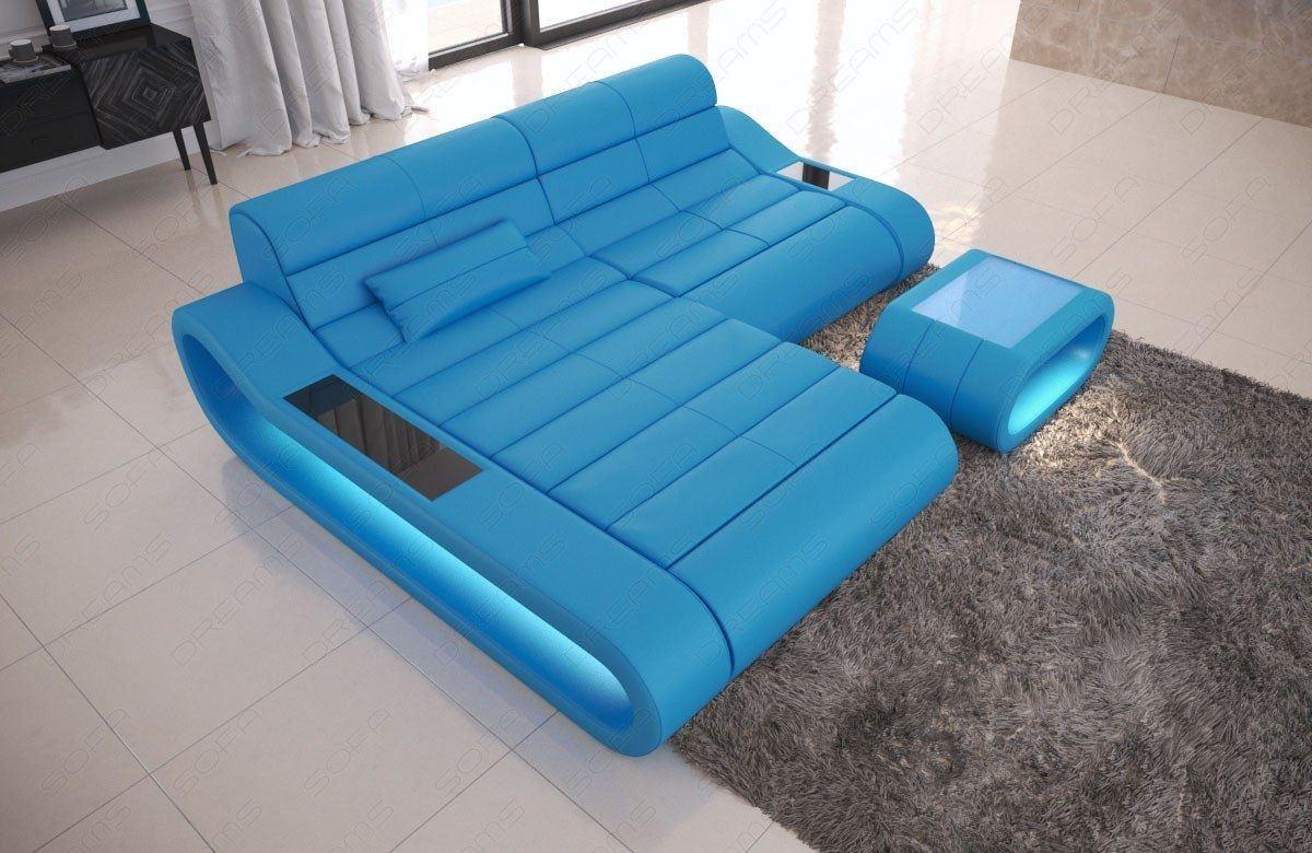 couch concept in leder als l form klein und der farbe blau. Black Bedroom Furniture Sets. Home Design Ideas