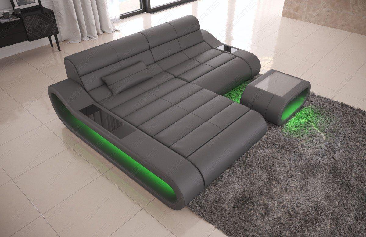 Couch Concept Leder L Form klein grau