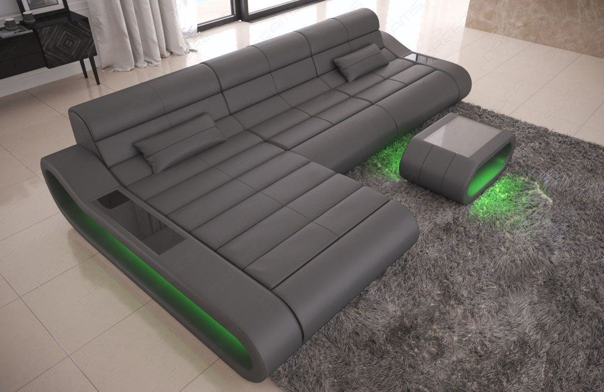 Couch Concept Leder L Form lang grau