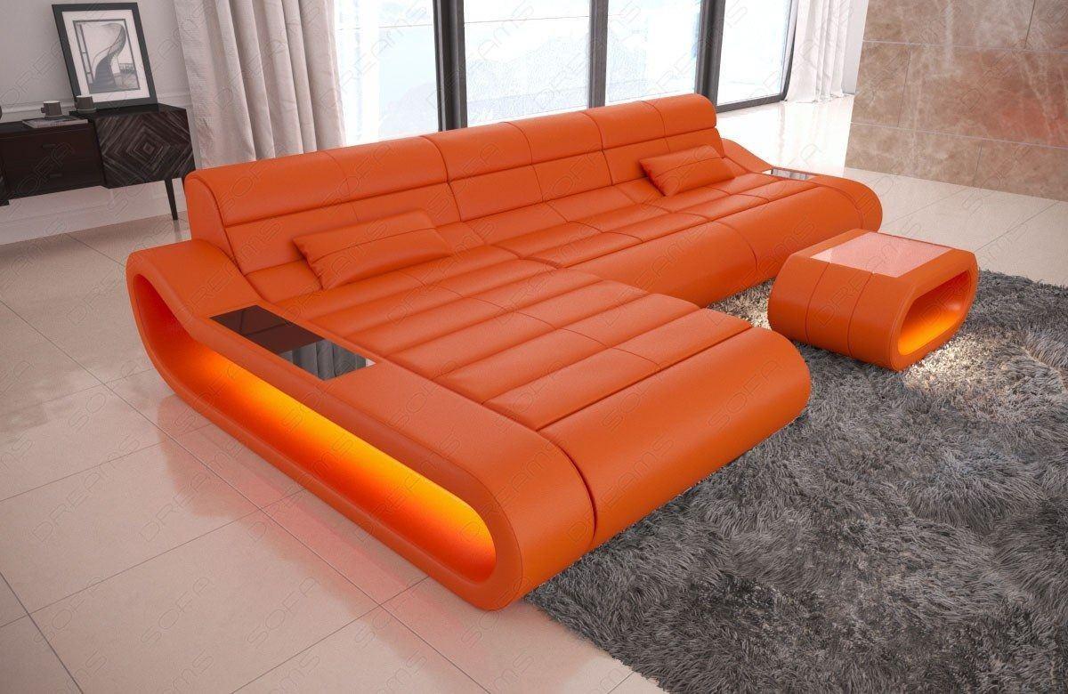 Ledersofa Concept L Form lang orange