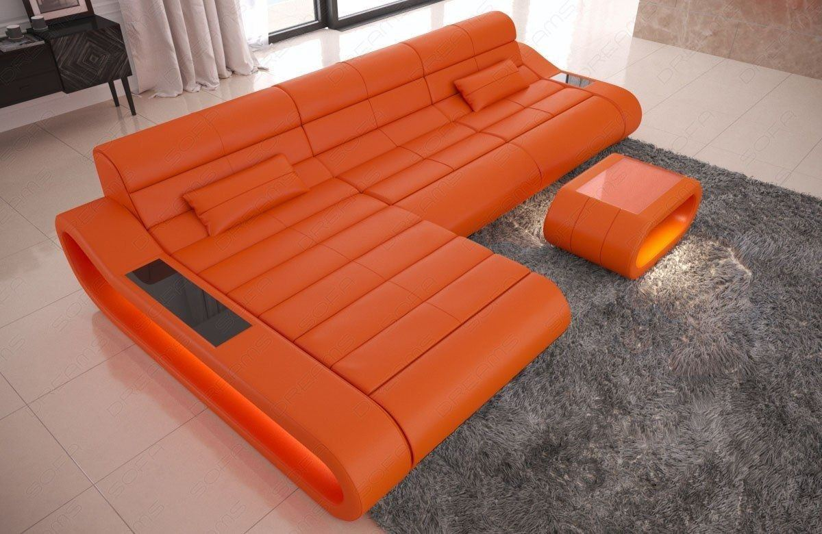 Couch Concept Leder L Form lang orange